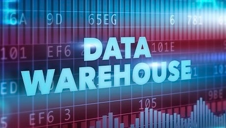 data warehouse graphic with numbers and bar charts