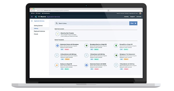 A screen capture of the IBM Cloud Automation Manager user interface