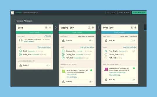 A screen capture of the IBM Bluemix DevOps Services user interface