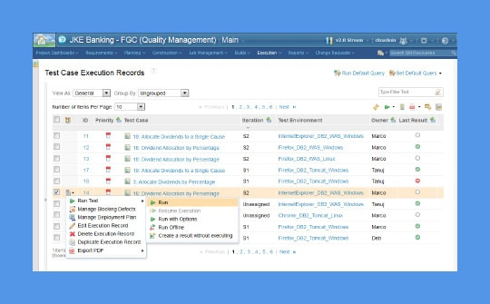 A screen capture of the IBM Rational Quality Manager user interface