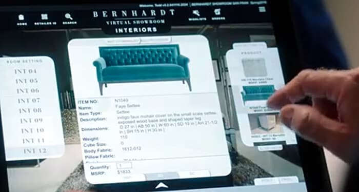 Screen shot from video case study on Bernhardt Furniture using IBM Cloud to develop a revenue-generating mobile app