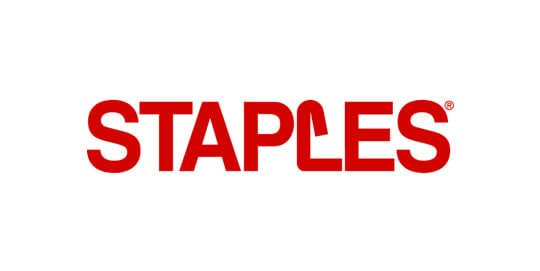 Staples logo representing the case study of how the company used Bluemix to improve its ordering ecosystem.