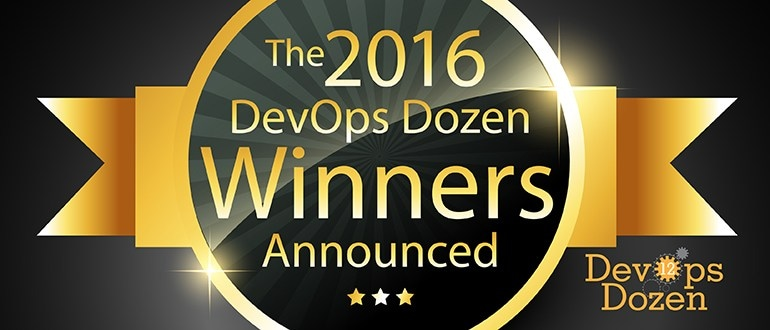 banner headlining the 2016 DevOps Dozen winners, selected by DevOps.com