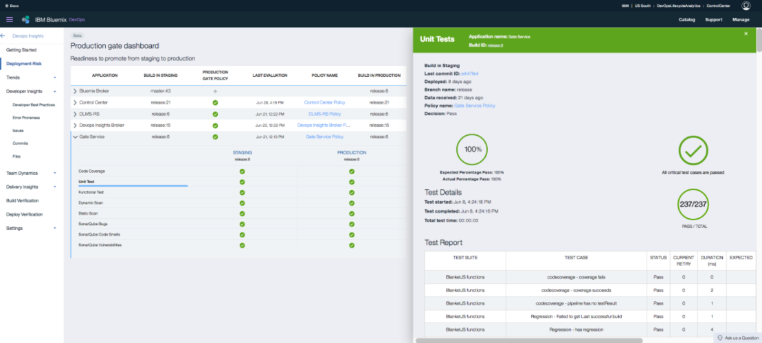 Screen shot showing quality assurance aspects of DevOps Insights