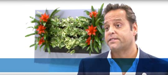 Screen shot from video with Delos' Paul Scialla discussing the link between buildings and biological outcomes