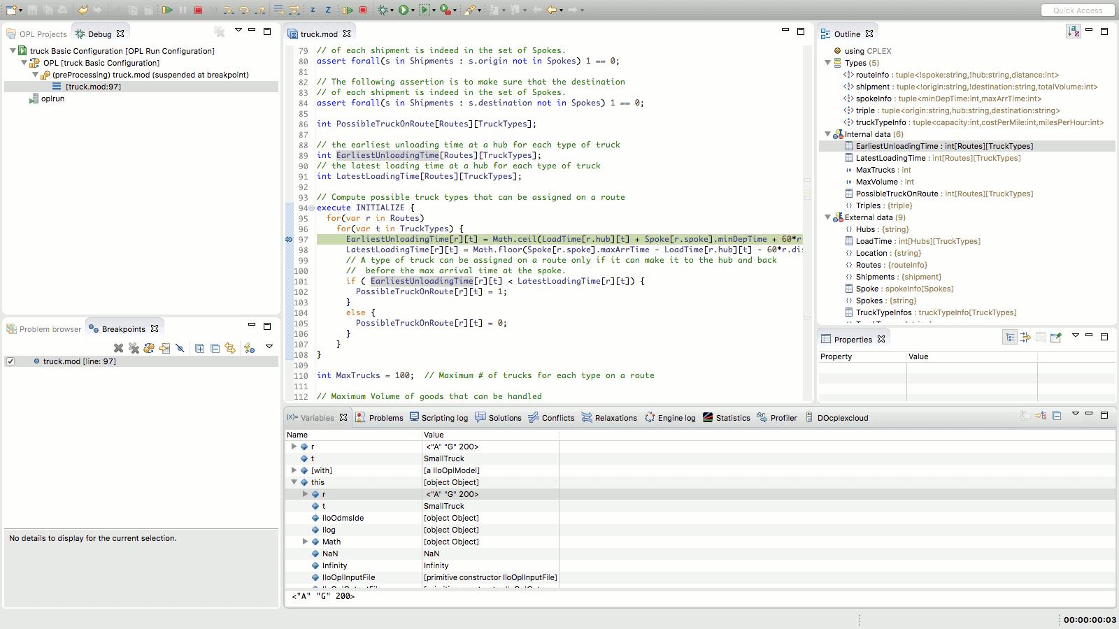 Debugging in OPL in IBM ILOG CPLEX Optimization Studio