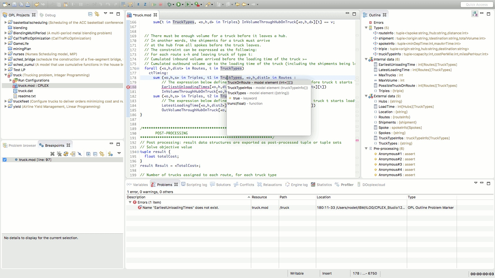 Syntax checking and auto-completion in IBM ILOG CPLEX Optimization Studio