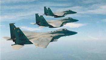 F-15 fighter jets in flight