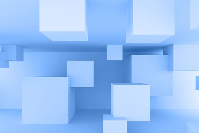 Abstract art: blue squares