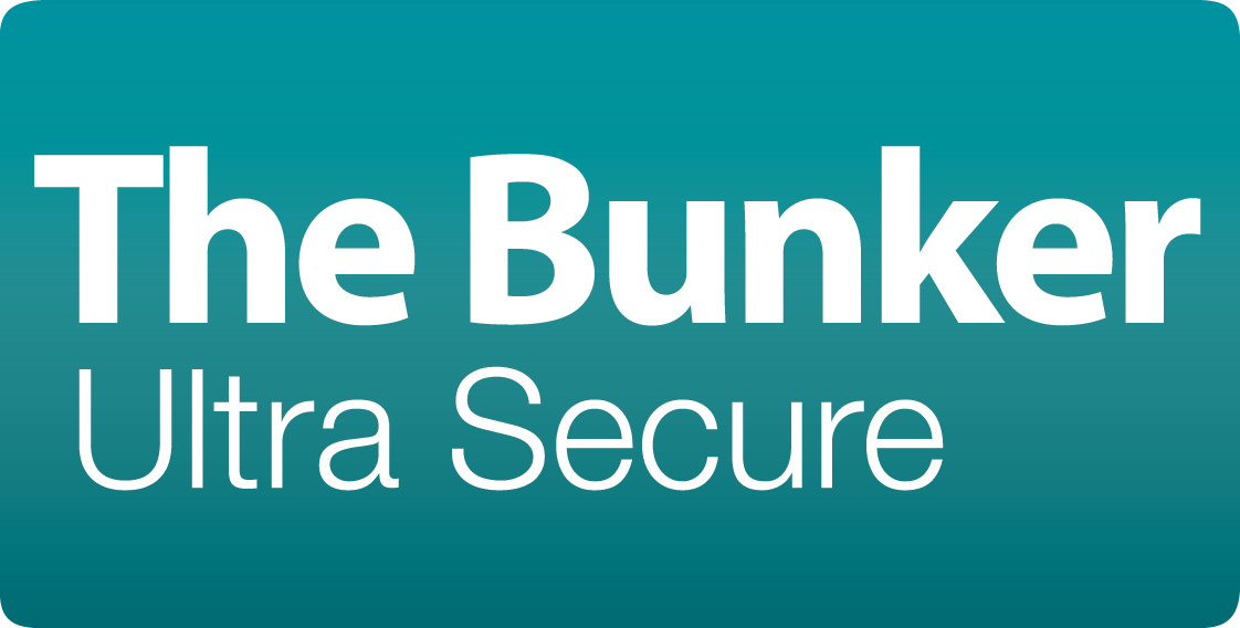 Logo for The Bunker, in white and teal