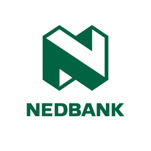 "The word ""Nedbank"" is written in green text below a green, 3D ""N"" shape."
