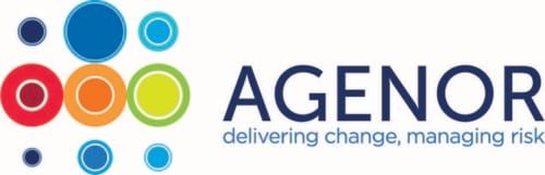 "The words ""Agenor: delivering change, managing risk"" are written in dark and light blue font next to multicolored circles of different sizes."