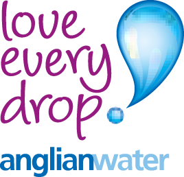 Logo of Anglian Water, in purple and blue, with a blue drop on the right hand-side.
