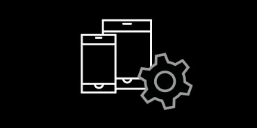 Icon of mobile devices and a gear