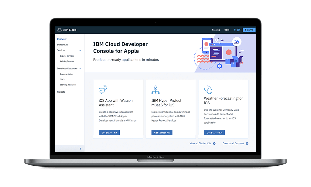 Laptop displaying IBM Cloud Developer Console for Apple