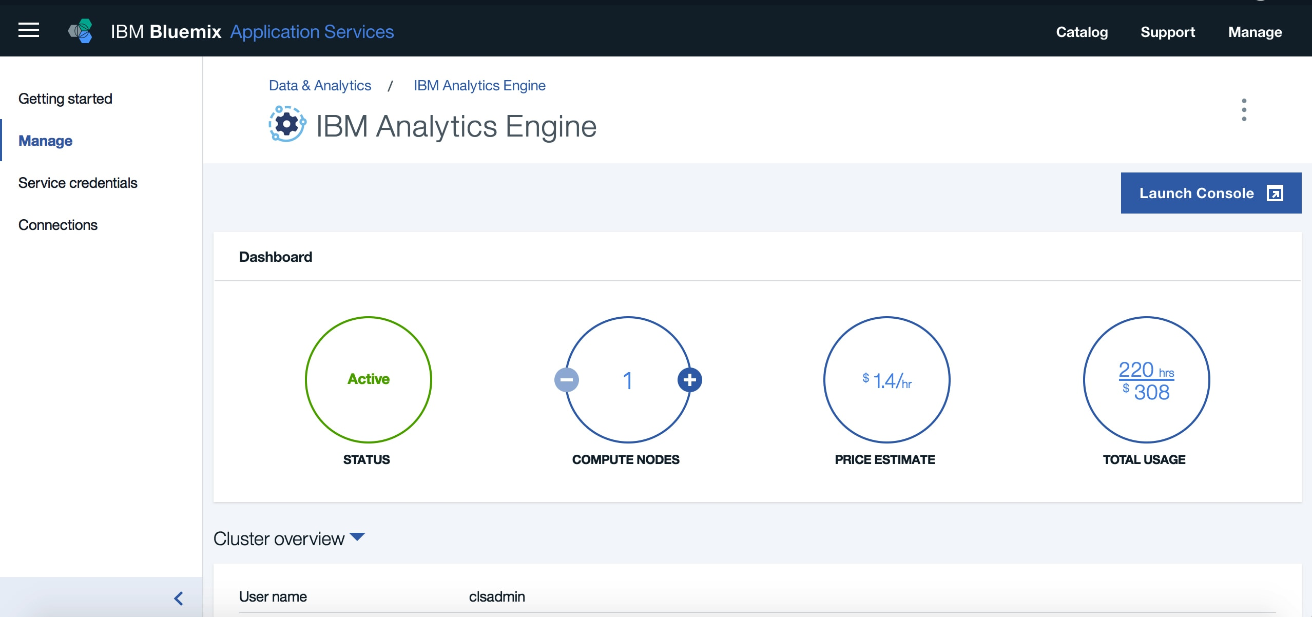 Interfaccia di Analytics Engine