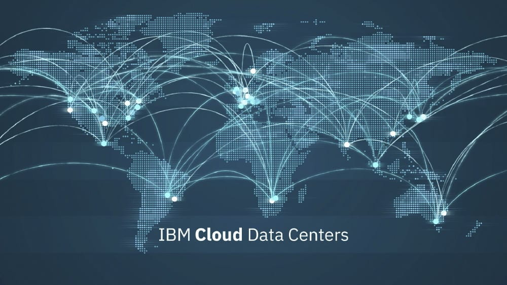 Graphic showing the IBM Cloud data centers around the world, connected by a private network for low latency