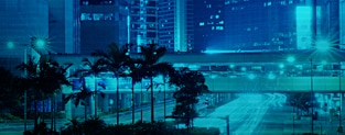 Blue tinted city landscape