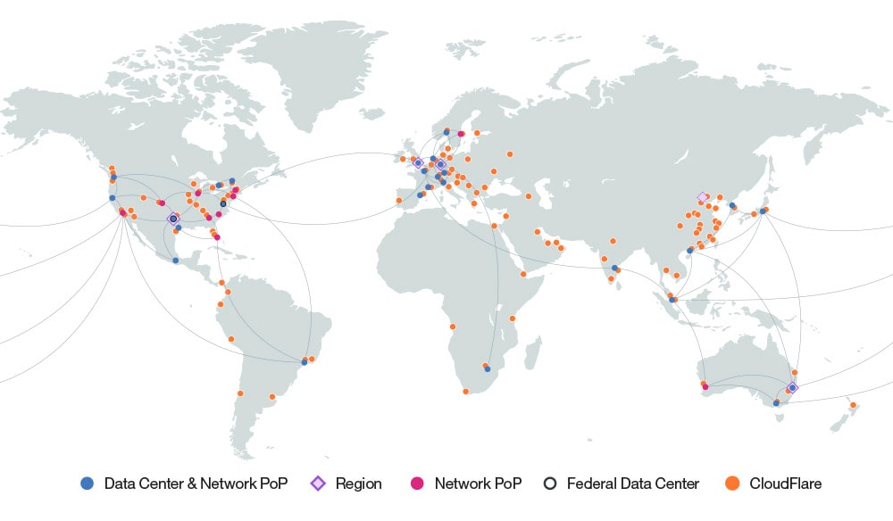 Graphic of world map showing IBM Cloud data centers with CloudFlare
