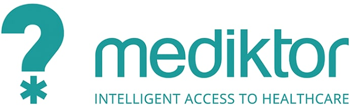 "The text ""Mediktor: Intelligent access to healthcare"" is written beside a blue question mark, whose dot is the symbol of a US emergency room."