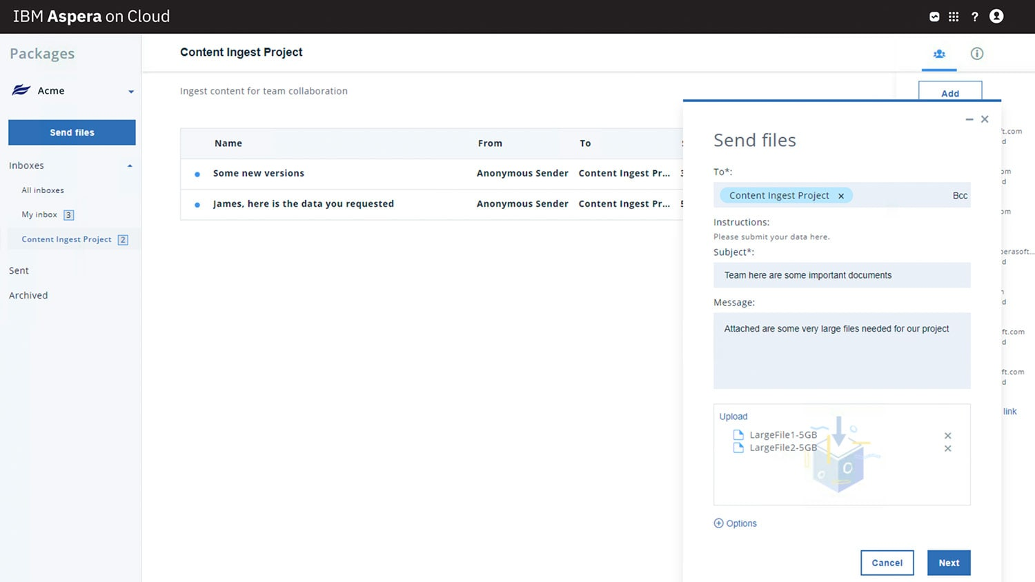 Screen capture of the shared inbox content-submission portal feature of Aspera on Cloud