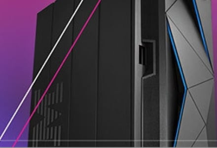 IBM Z Server front view against gradient background