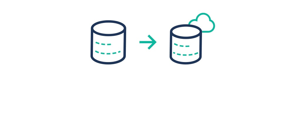 Icon representing the use of Lift to migrate databases to cloud