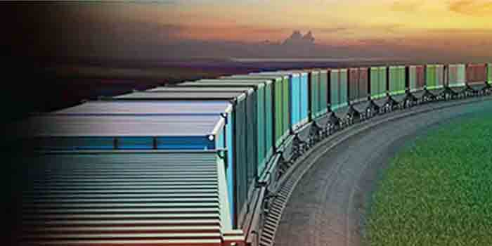Train of shipping containers
