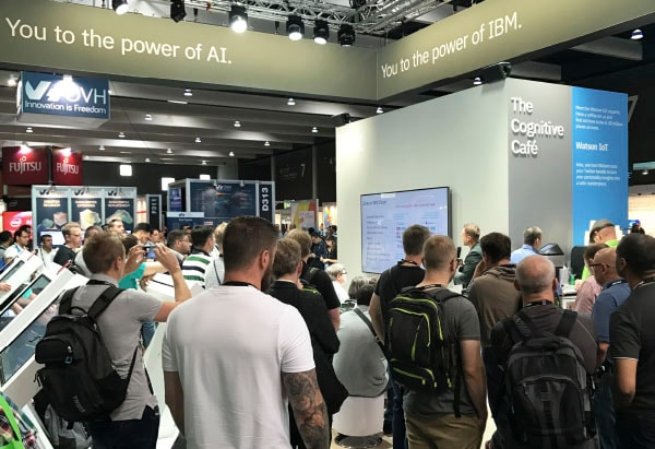 Photo of a crowd gathered at the IBM booth at VMworld 2017