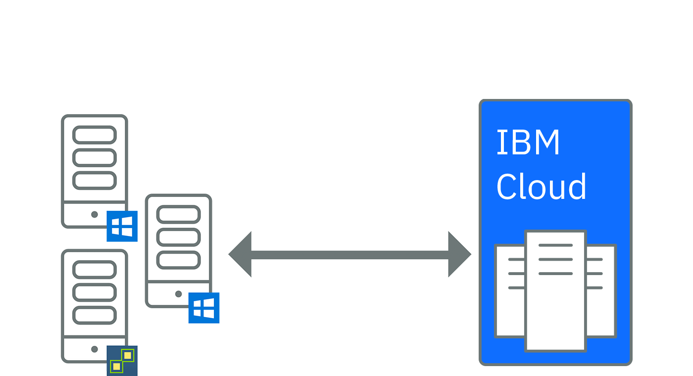 Graphic representing moving data from another cloud provider to the IBM Cloud