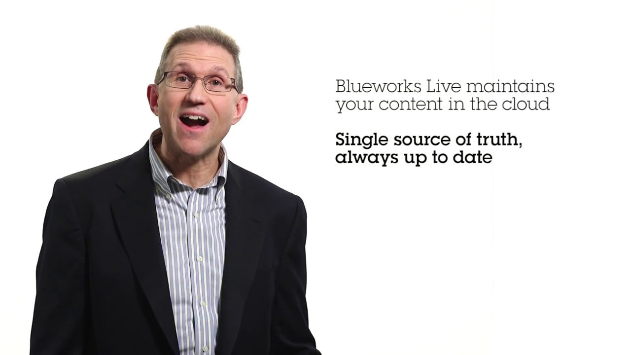 Video describing process modeling in the cloud with IBM Blueworks Live.