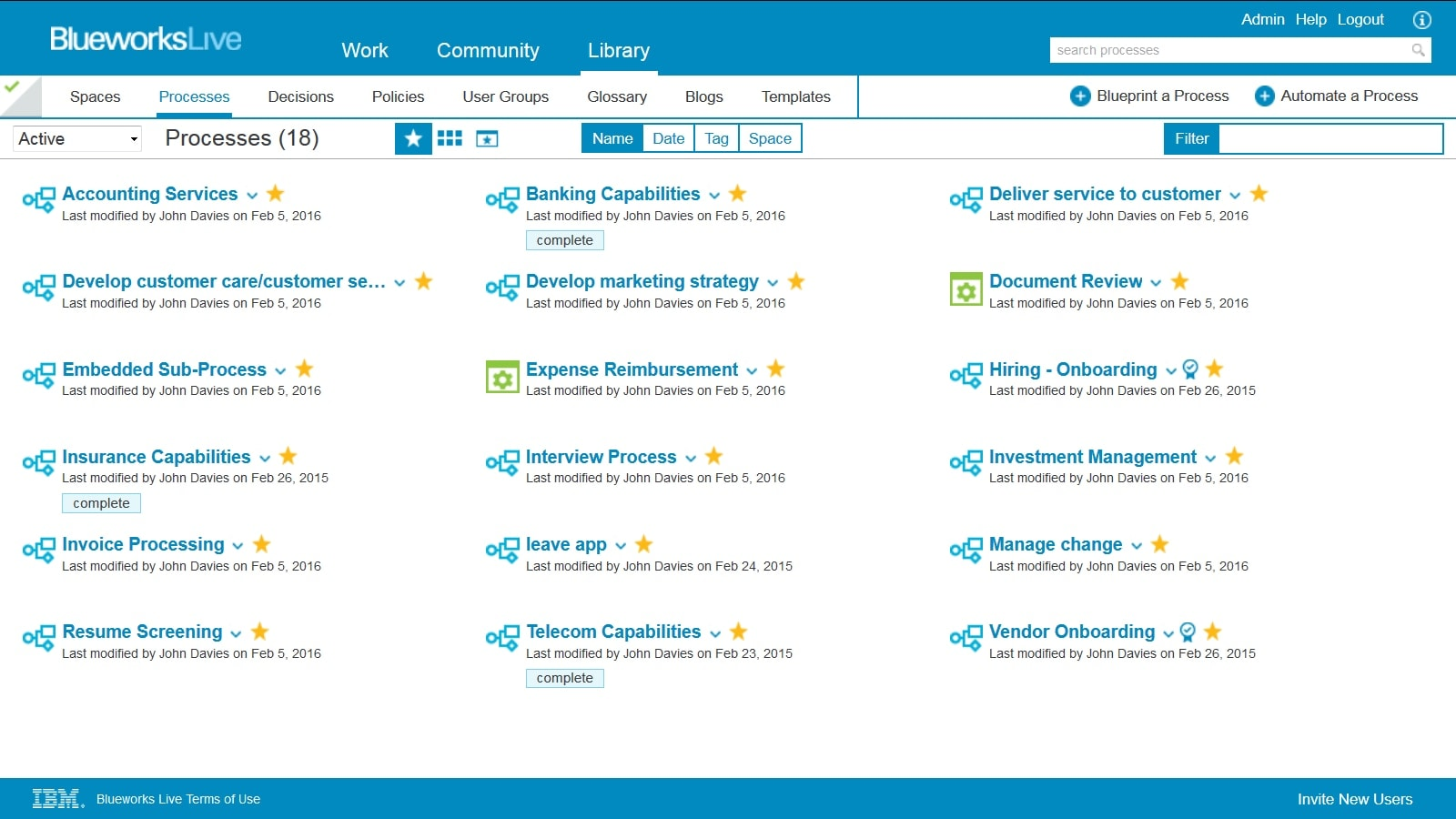 A product screen shot that represents the IBM Blueworks Live process repository.
