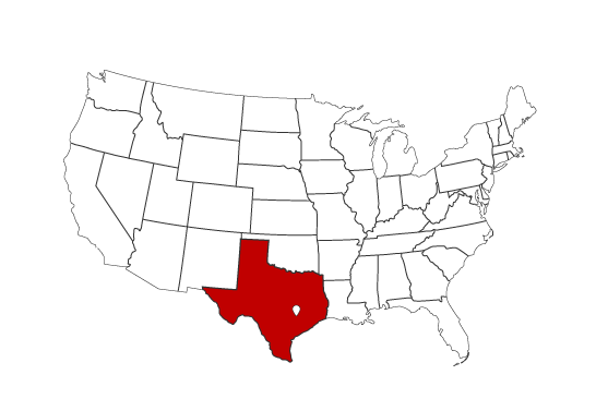 Austin highlighted in red on USA map