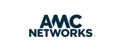 A graphic logo for AMC Networks, representing a case study using IBM Integrated Analytics System to make smarter scheduling and data-driven marketing decisions
