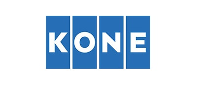 A graphic logo for KONE Corp., representing a case study using IBM Watson IoT to provide global connectivity and real-time data provision