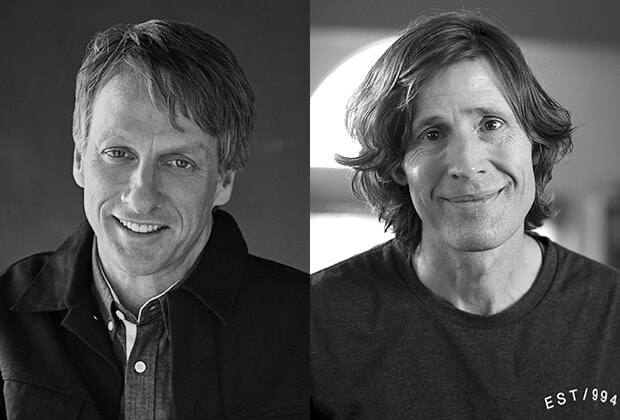 Head shots of Tony Hawk and Rodney Mullen