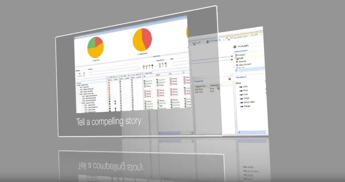 Video depicting a planning analytics walkthrough featuring charts and capabilities