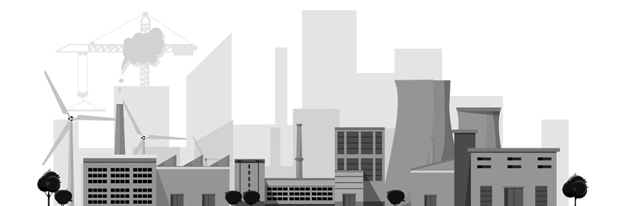 Graphic shows connected industrial plants