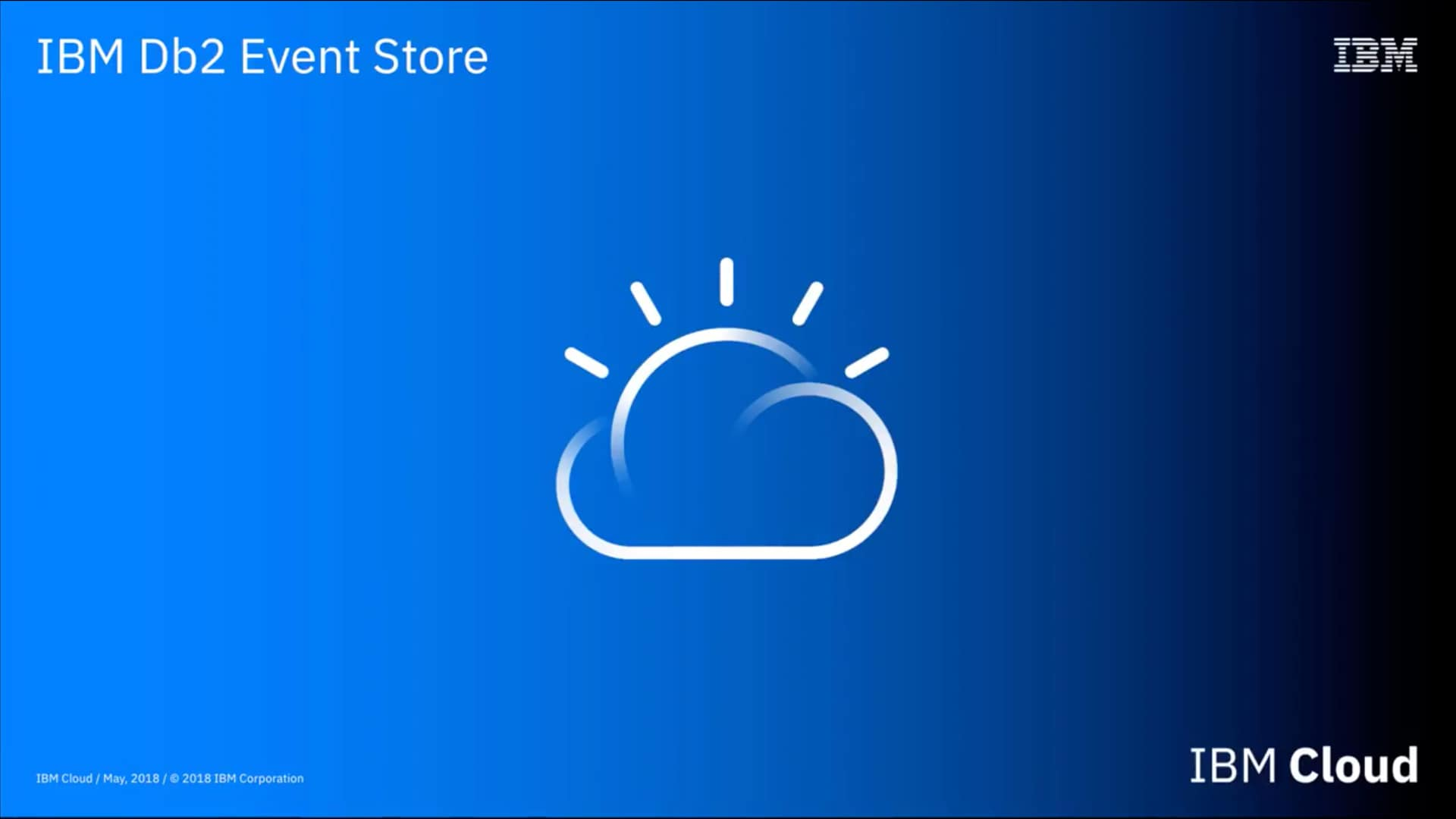 white IBM Cloud icon on blue-gradient background