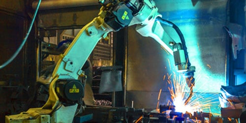 Efficient robotic arm in manufacturing plant