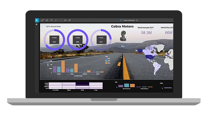 mage of a user-facing laptop depicting a sleek dashboard and planning analytics demos