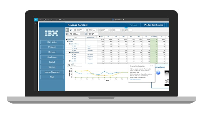 Pantalla de portátil que muestra el tutorial para el software de IBM Planning Analytics for Microsoft Excel