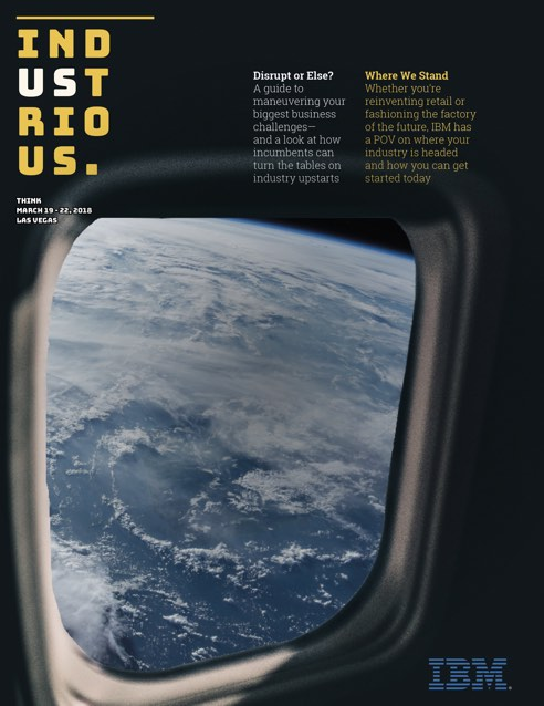 Cover of Industrious issue 1 showing a view of the earth from space through a window