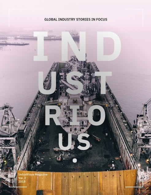 Cover of Industrious issue 2 showing a shipping port