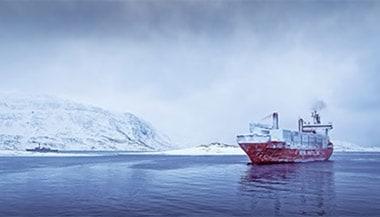 Cargo ship in artic waters
