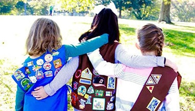Three Girl Scout friends