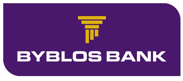 Byblos Bank logo, the top of a yellow pillar on a purple background