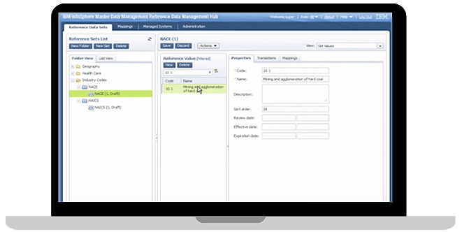 Captura de pantalla de IBM InfoSphere MDM Reference Data Management Hub