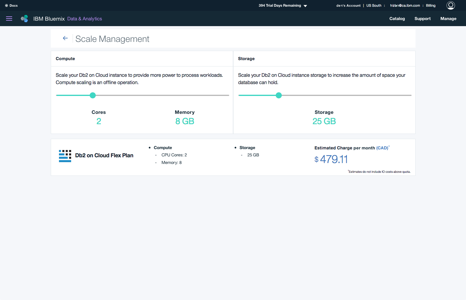 image of product interface showing how to scale your cloud database on-demand