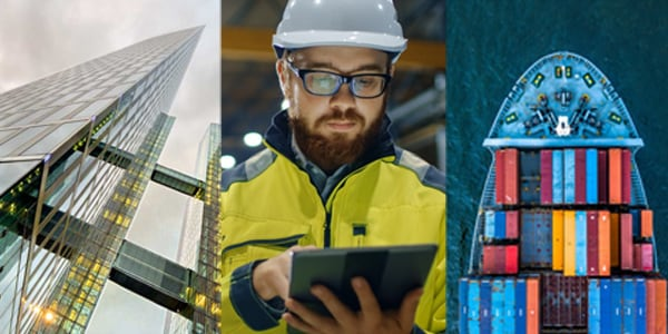 three pictures, building, worker using tablet, cargo ship